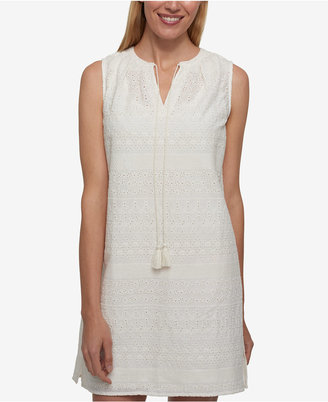 Tommy Hilfiger Cotton Eyelet Shift Dress, Only at Macy's $99.50 thestylecure.com