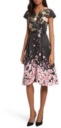Ted Baker Peach Blossom Faux Wrap Midi Dress