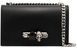 Alexander McQueen black Jewelled leather satchel bag