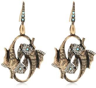 Alcozer & J Fish Brass Earrings