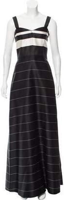 Katie Ermilio Sleeveless Stripe Evening Dress
