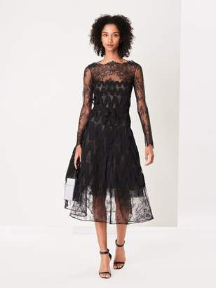 Oscar de la Renta Flower Bouquet Chantilly Lace Cocktail Dress