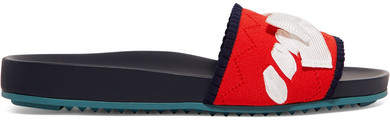 Fendi - Bow-embellished Stretch-knit And Leather Slides - Red