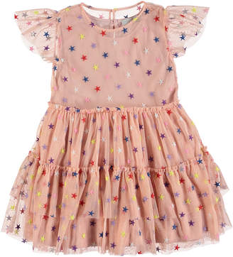 Stella McCartney Multicolored Embroidered Star Tiered Tulle Dress, Size 4-14