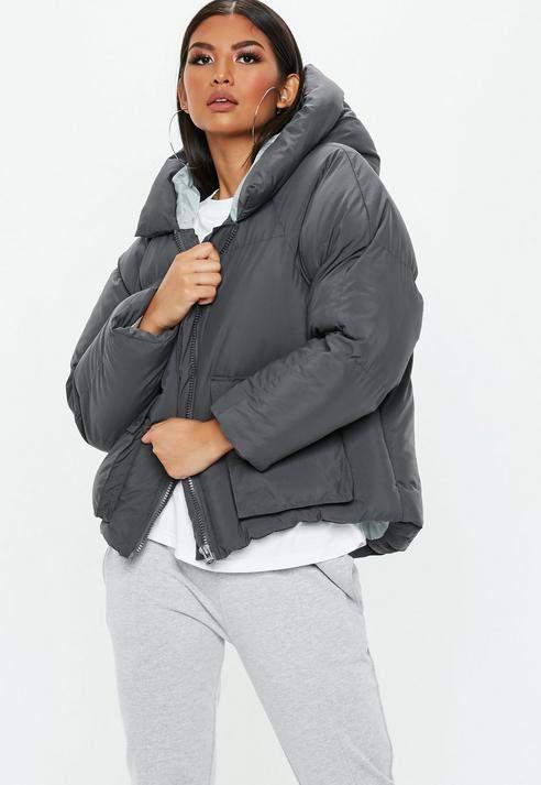 Grey Oversized Hooded Ultimate Puffer Jacket, Grey