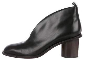 Celine Leather Square-Toe Booties