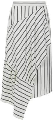 Tibi Lucci Stripe Asymmetric Ruffle Skirt