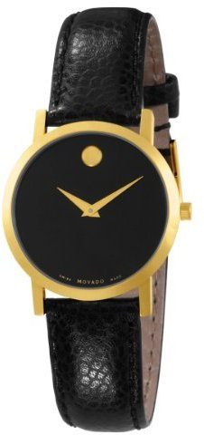 Movado Women's 606131 Museum Black Leather Strap Round Dial Watch