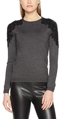 Warehouse Women's Embellished Shoulder Lace Trim Jumper,6