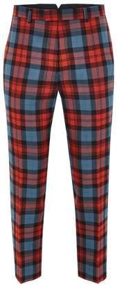 Topman LOCHCARRON X Red And Blue Tartan Skinny Suit Trousers