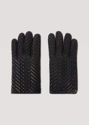 Emporio Armani Leather Gloves With Quilted Pattern And Wool Lining