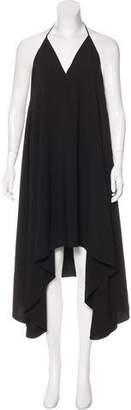 Halston Asymmetrical Halter Neck Midi Dress