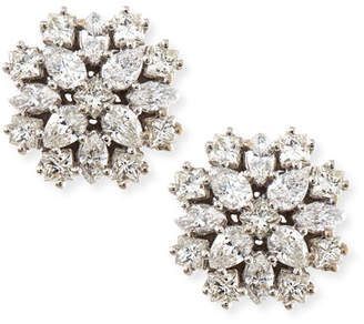 Paul Morelli 18k White Gold Diamond Cluster Stud Earrings, 12mm