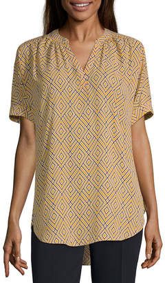 WORTHINGTON Worthington Womens V Neck Short Sleeve Blouse