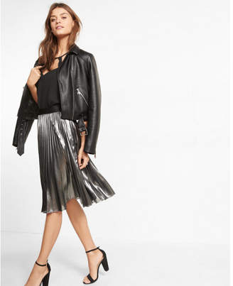 Express metallic pleated midi skirt $128 thestylecure.com
