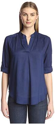 James & Erin Women's Solid Split Neck Shirt