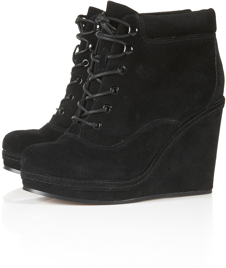 Topshop ANDREAS Wedge Lace Up Boots