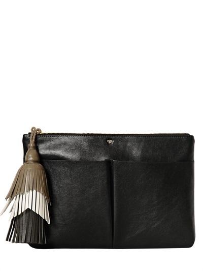 Anya Hindmarch Nevis Zipped Velvet Leather Clutch