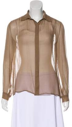 The Row Sheer Button-Up Blouse