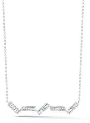 Sylvie DANA REBECCA 14K White Gold Rose Diamond Uneven Bar Necklace - 0.07 ctw