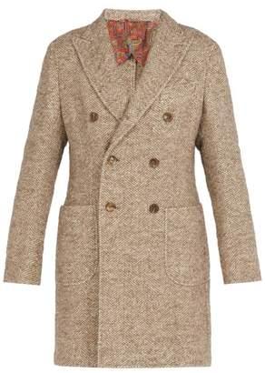 Etro - Double Breasted Tweed Overcoat - Mens - Beige