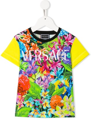 Versace logo colour-block T-shirt