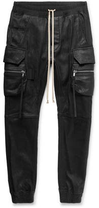 Rick Owens Slim-Fit Tapered Stretch Leather And Cotton-Blend Cargo Trousers