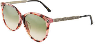 Gucci Round Tortoise Acetate/Metal Tiger Sunglasses