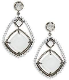 White Moonstone, Rainbow Moonstone & Sterling Silver Earrings