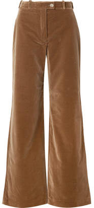 Acne Studios Cotton-velvet Wide-leg Pants - Camel
