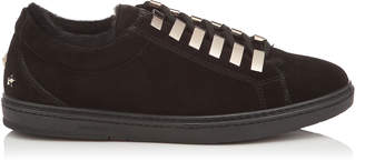 Jimmy Choo CASH Black Velvet Suede Low Top Trainers with Fur Lining