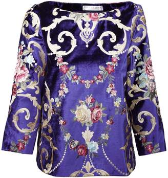 Jiri Kalfar Royal Blue Velvet Top With Embroidery