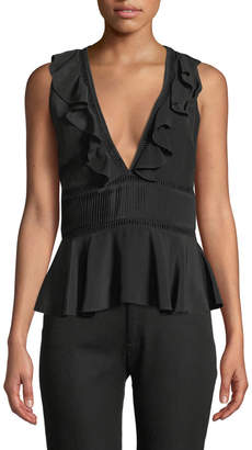 Zac Posen Sleeveless Silk Blouse with Ruffles and Banded Waist