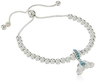 Disney Sterling Cinderella Carriage Beaded Lariat Charm Bracelet