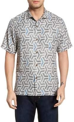 Tommy Bahama Wellington Geometric Silk Blend Camp Shirt
