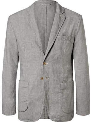 Aspesi Puppytooth Linen And Cotton-Blend Blazer