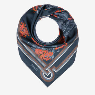 Bally Crest Print Silk Scarf Blue, Women's silk scarf in ink