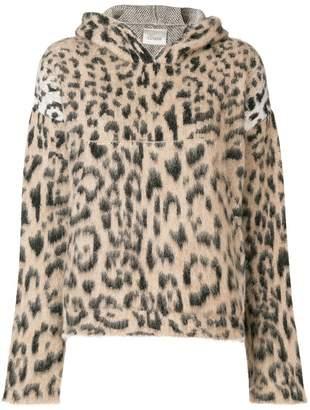 Laneus leopard print hooded sweater