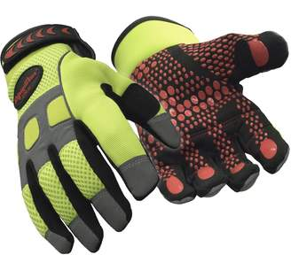 Refrigiwear HiVis Super Grip High Performance Work Gloves (High Visibility Lime,)