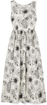 Co Embroidered Cotton-poplin Midi Dress