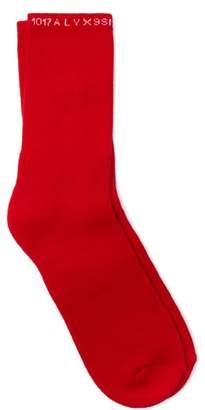 Alyx Intarsia Logo Cotton Blend Socks - Mens - Red
