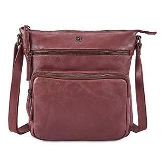 COCHOA Large Women's Crossbody Real Leather Triple Zip Bag