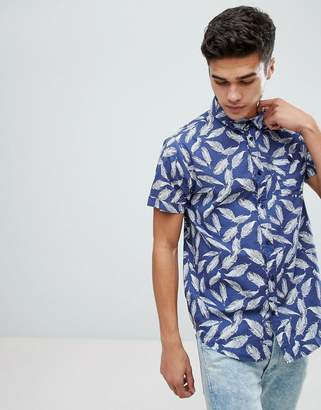 Brave Soul Feather Print Short Sleeve Shirt