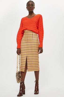 Topshop Check Midi Skirt