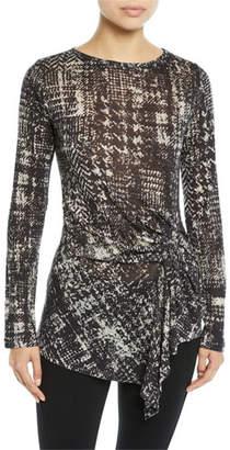 Fuzzi Long-Sleeve Plaid Shirred-Side Wool Jersey Top