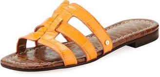 Sam Edelman Berit Strappy Croc-Embossed Flat Slide Sandal