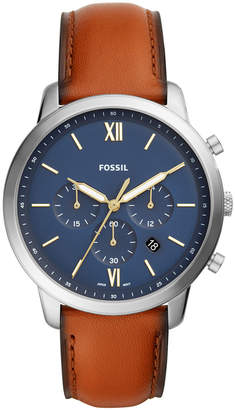 Fossil Men Neutra Chronograph Brown Leather Strap Watch 44mm