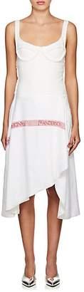J.W.Anderson WOMEN'S LOGO RUSTIC LINEN ASYMMETRIC DRESS - WHITE SIZE 8 UK
