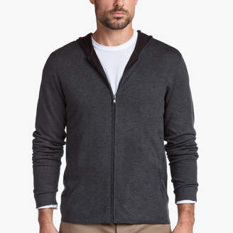 James Perse COTTON DOUBLE LAYER ZIP-UP SWEATER