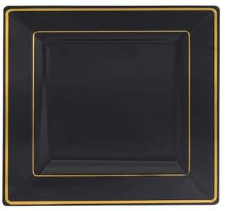 "Kaya Collection - Disposable Black with Gold Rim Plastic Square 9.5"" Dinner Plates - 1 Case (120 Plates)"
